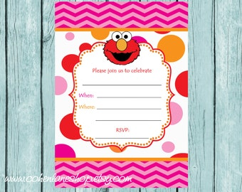 Instant Download Fill In Elmo Party Invite. Fill in Invitations.  Elmo Birthday Party Invitation.  Elmo Party Invite.