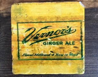 Vernors Vintage Art Coaster with cork backing, optional reclaimed wood frame