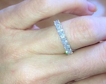 Diamond Wedding Band .95ct Natural Round Diamonds Wedding Band Anniversary Diamond Weddding Band 18k white gold  Pristine Custom Rings