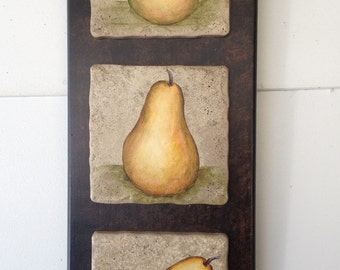 Pear painting on tiles
