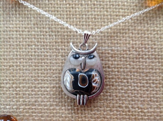 Handmade Silver and Clay Owl Pendant Black Brown