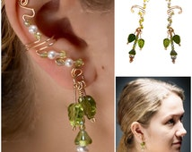 Elegant Ear Cuffs, 14K Gold Filled Wire, Green Czech Glass Leaves, Swarovski Pearls, sold as a pair, formal, bridesmaid, celtic, nature