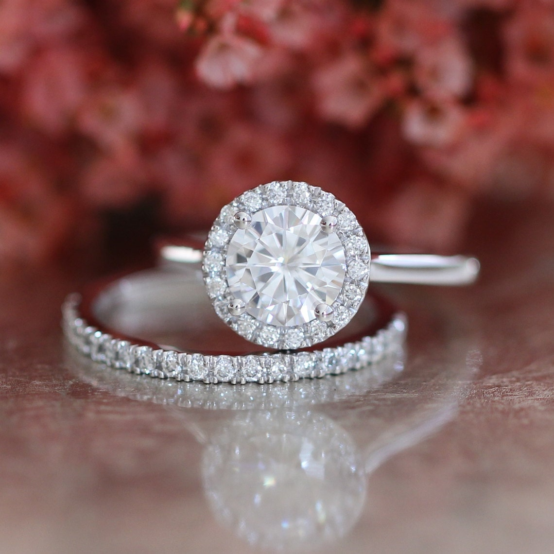 forever one moissanite engagement ring and half eternity