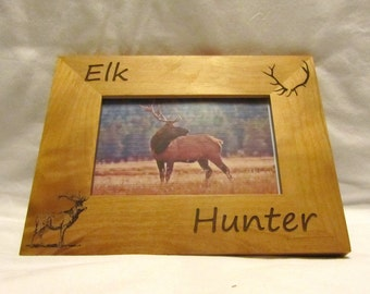Personalized Wooden Picture Frame- Elk Hunter