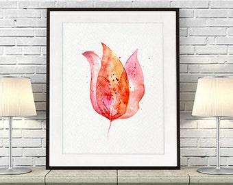 Pink Tulip watercolor art print, flowerl fine art watercolor print, watercolor flower illustration, wall decor - F89