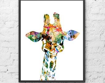 Baby giraffe watercolor art print, Animal Art, Watercolor Print, Giraffe Art, Giraffe Art Illustration, Watercolor Poster  - H22
