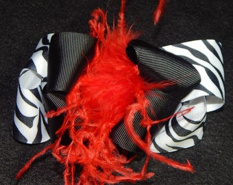 Black and White Zebra Print Boutique Stacked Hair Bow with Red Ostrich Puff