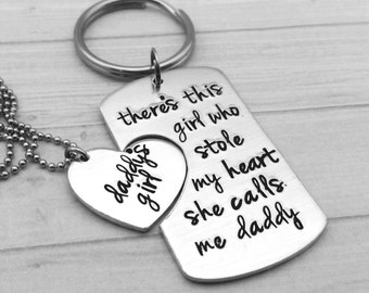 Personalized Hand Stamped daddy daughter keychain and necklace combo.
