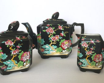 "Antique Masons Ironstone ""Black Chinese"" Tea Set, Teapot, Milk & Sugar Circa 1900"