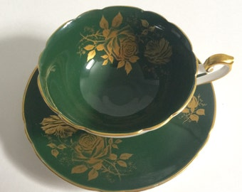 Vintage Shelley Green Tea cup & Saucer