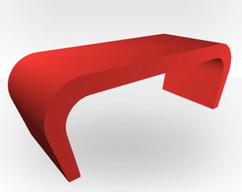 Red Matt Coffee Table - Wedge