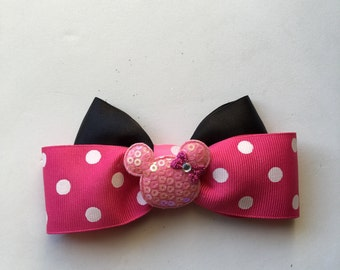 Hair Bow, Minnie Mouse Inspired, pink and black
