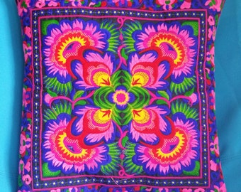 Hmong Handmade floral Sitches pillow cushion covers cases Pink Purple Gift