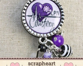 Personalized Cardiac Nurse Badge Reel, Purple Nurse Accessories, RN LPN Nursing School Graduation, Cute Bling Nurse Appreciation Gifts