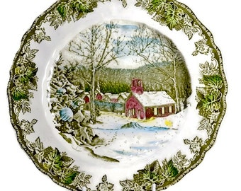 Johnson Bros Dinner Plate - Friendly Village - Decorative Plate, Snow Scene Plate, Christmas Decor, Vintage China Plate Johnson Brothers