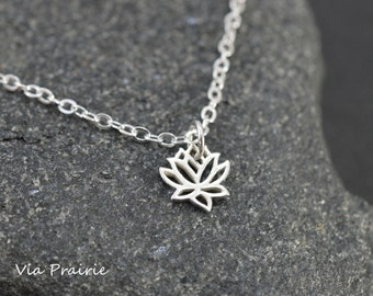 Lotus necklace, Lotus flower pendant, Zen necklace, Yoga pendant, Gift for her, Silver Lotus charm, 925 Sterling silver - Ready to ship -
