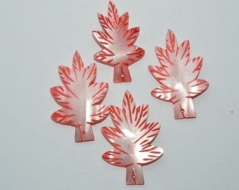 Vintage Red Mother Of Pearl Hand Carved Leaves. Lot of 10 (1061644)
