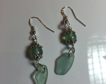 Dangly bead cap earrings with  round green Adventurine beads with hanging pieces of seaglass on sterling french earwires.