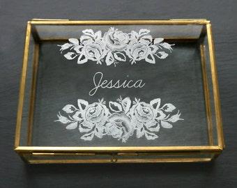 Glass Keepsake Box, Wedding Gift Box, Personalized Box, Trinket box, Bridesmaid Gift, Rectangular Glass Keepsake Box With Name & Roses