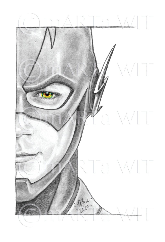 54 Hand-drawn Fan Art Half Faces The Flash