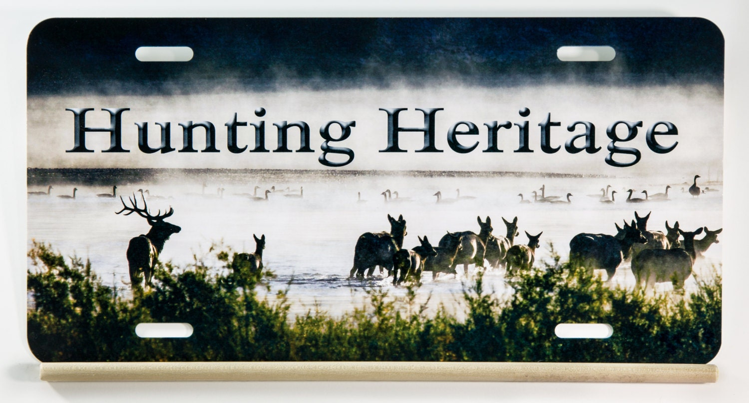 Hunting heritage license plate from the popular elk in the for Fishing license illinois