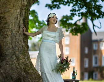 Edwardian style silk and lace wedding dress, 'Lydia'