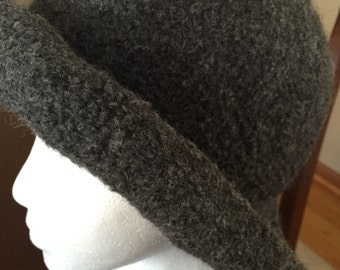 Hand knit and felted wool hat