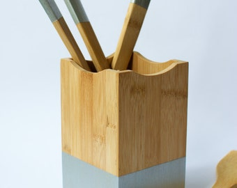 Ready to ship! Silver Bamboo Utensil Holder, Kitchen Caddy, Cooking Utensil Crock