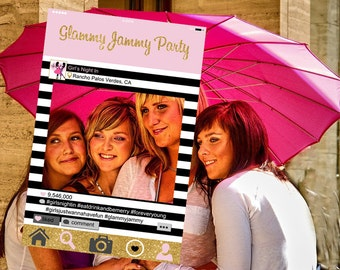 Instagram Style Frame - Customized - Girls Night Out - Girls Night In - Pajama Party, Photo-booth prop, bachelorette party