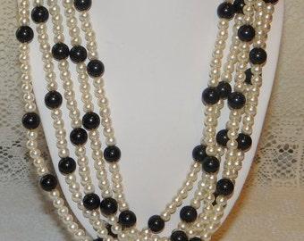Necklace Earring Set Demi Parure Faux Pearl Black Bead 5 Strand Necklace Matching Earrings Demi Parure