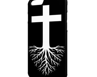 Rooted In Faith iPhone Galaxy Note LG HTC Hybrid Rubber Protective Case Christian Black Background
