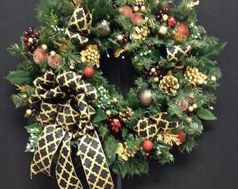 Christmas Wreath, Black & Gold, Wreaths, Artificial Wreath, Cordless, Timer, Lighted Wreath, Pre-lit Wreath,