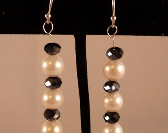 White Freshwater Pearl with Black Crystal Beads Sterling Silver Earrings
