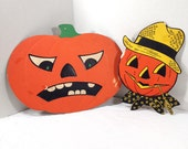 Vintage Halloween Die-Cut Decorations lot of 2 || 60's 70's Halloween Holiday Decor || Beistle Company