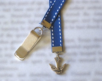 Blue Bird bookmark - Attach clip to book cover then mark the page with the ribbon. Never lose your bookmark!