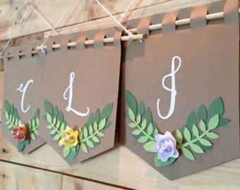 Monogrammed Paper Mini Banner