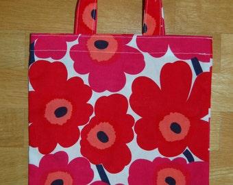 Small Red Mini Unikko tote bag, Finland, Christmas, Marimekko material
