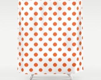 Shower Curtain Orange Ikat Polka Dots Teen Shower Curtain Girls Shower Curtain Girls Decor Orange Polka Dots Shower Curtain Girls Bathroom