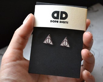 Harry Potter Stud Earrings Magic Boy wizard Deathly hallows Novel Fiction Studs Picture jewelry Reading Books