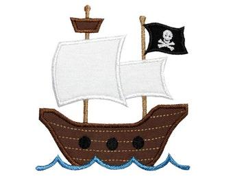 Pirate Ship Applique Machine Embroidery Design