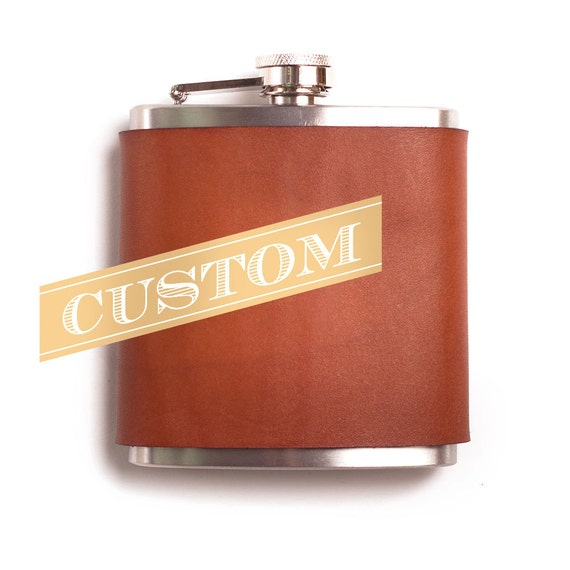 Customized Engraved Leather Hip Flask 6 Oz Stainless