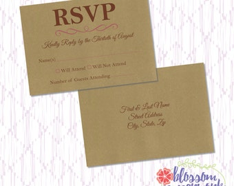 Kraft Paper Printable RSVP Postcard