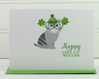 St. Patrick's Day Card, Cat Card, Cat Mom, Cat Dad, from the Cat, Cat Owner, Cute Card, for Husband, Wife, Boyfriend, Girlfriend, Funny Card