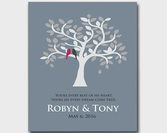 1st First Anniversary Gift - Paper - Engagement Gift - Wedding Gift - Gift for Couples - Any Color Available