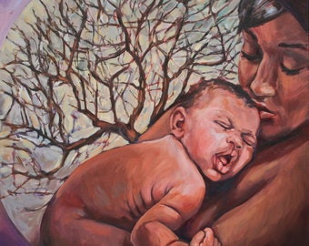 Birth Art Print - Ancestral Blessing - Mom and Baby