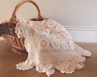 Crochet Bedspread, French Linen, Crochet Throw, French Laundry, French Lace, Crochet Shawl, Crochet Bed Cover, Lace Bedspread, Lace Bedding