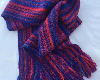 Hand Dyed Handspun Handwoven Pure Merino Wool Scarf for Men or Women