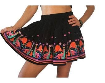 Embroidery Skirt, Dinosaur Skirt, Dinosaur Embroidery, Colourful Skirt,