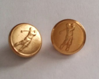 Cute Vintage Gold Tone Golf Golfer Blazer Jacket Clothing College Buttons Set of 2