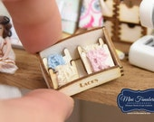 Counter Display LACES storage box  -  miniature handmade Dollhouse 1:12, sewing room, craft, decoration